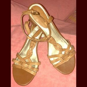 White Mountain Tan Leather Strappy Sandal